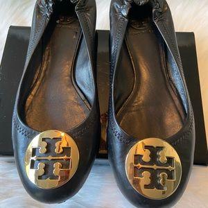 Tory Burch black slip on shoes